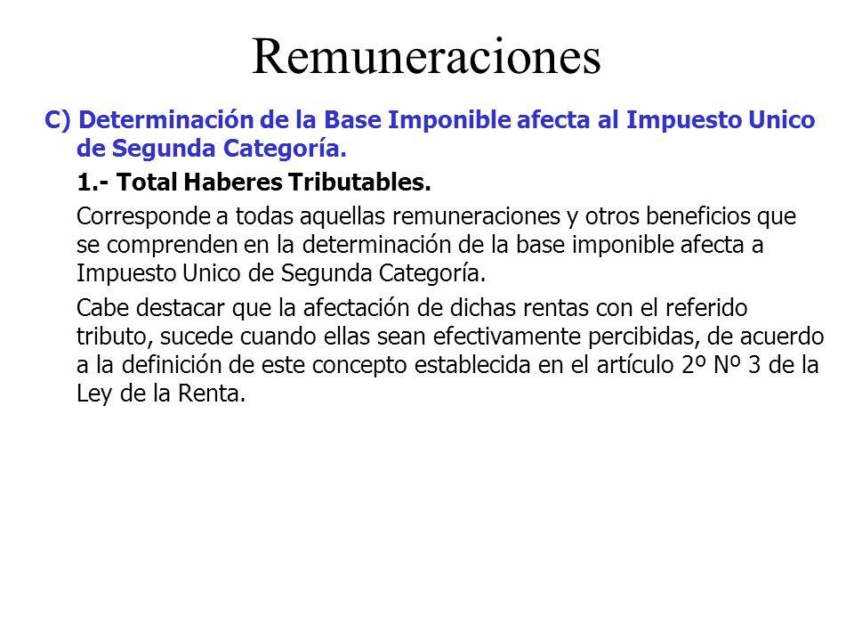 Remuneraciones C) Determinación de la Base Imponible afecta al Impuesto Unico de Segunda Categoría.