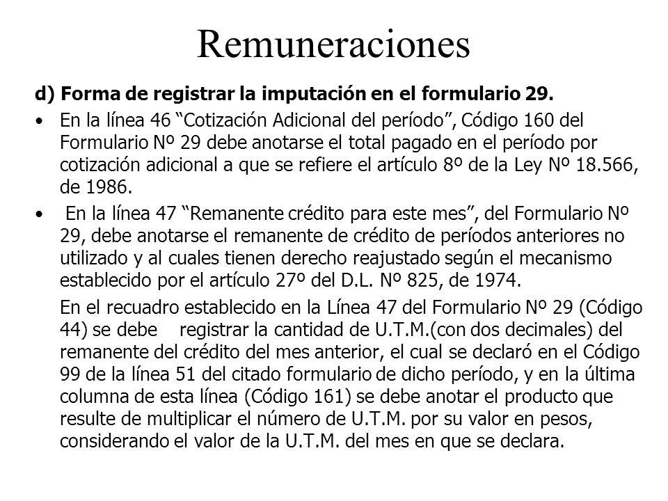 Remuneraciones d) Forma de registrar la imputación en el formulario 29.
