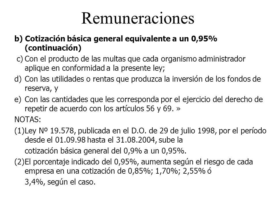 Remuneraciones b) Cotización básica general equivalente a un 0,95% (continuación)