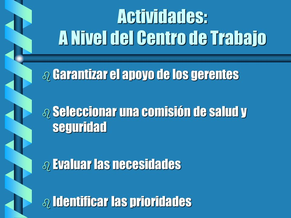 Actividades: A Nivel del Centro de Trabajo