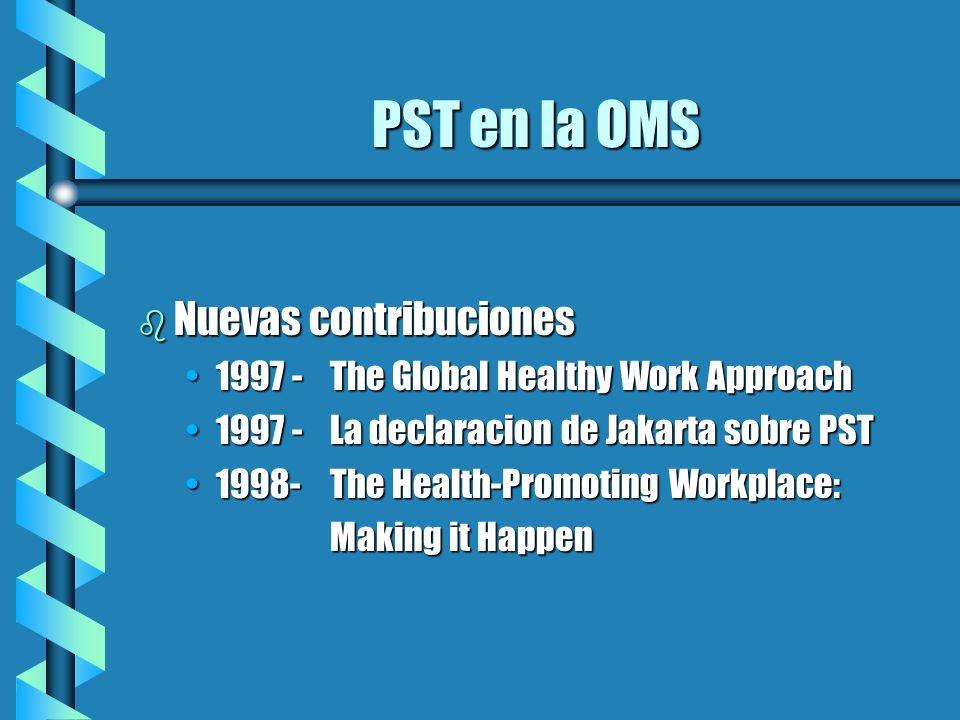 PST en la OMS Nuevas contribuciones