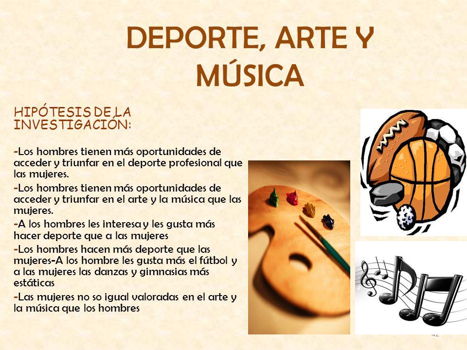 DEPORTE, ARTE Y MÚSICA HIPÓTESIS DE LA INVESTIGACIÓN: