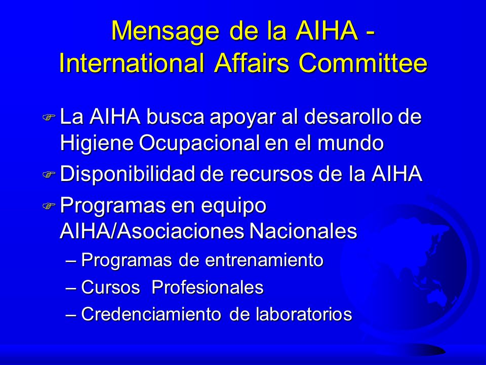 Mensage de la AIHA - International Affairs Committee