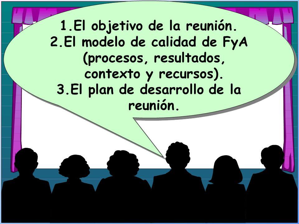 El objetivo de la reunión. El plan de desarrollo de la reunión.