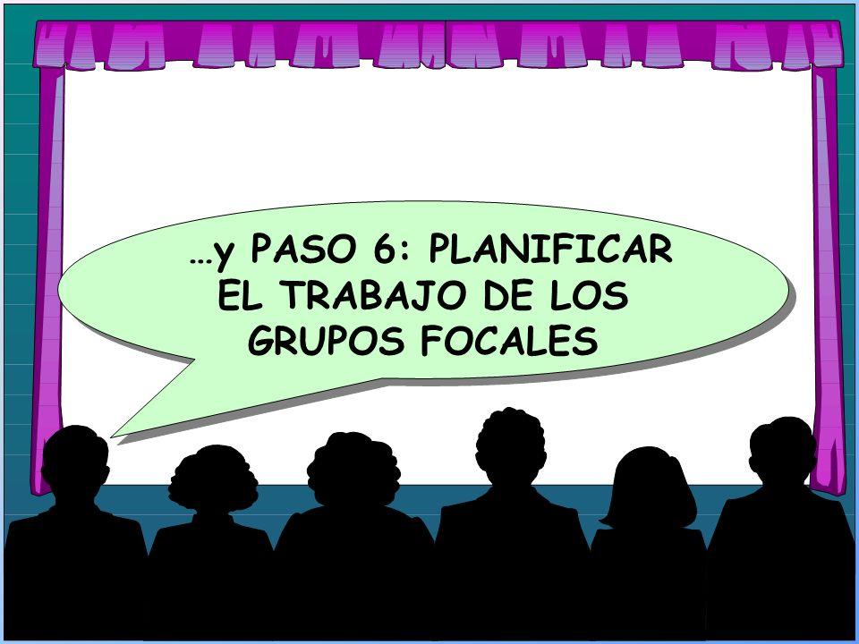 …y PASO 6: PLANIFICAR EL TRABAJO DE LOS GRUPOS FOCALES