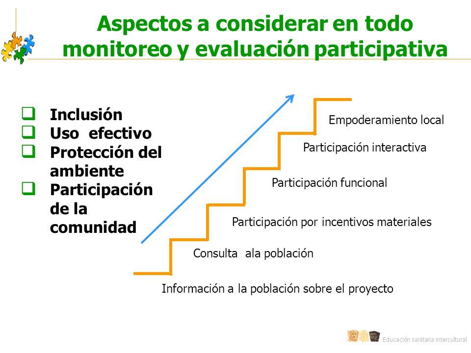 Aspectos a considerar en todo monitoreo y evaluación participativa