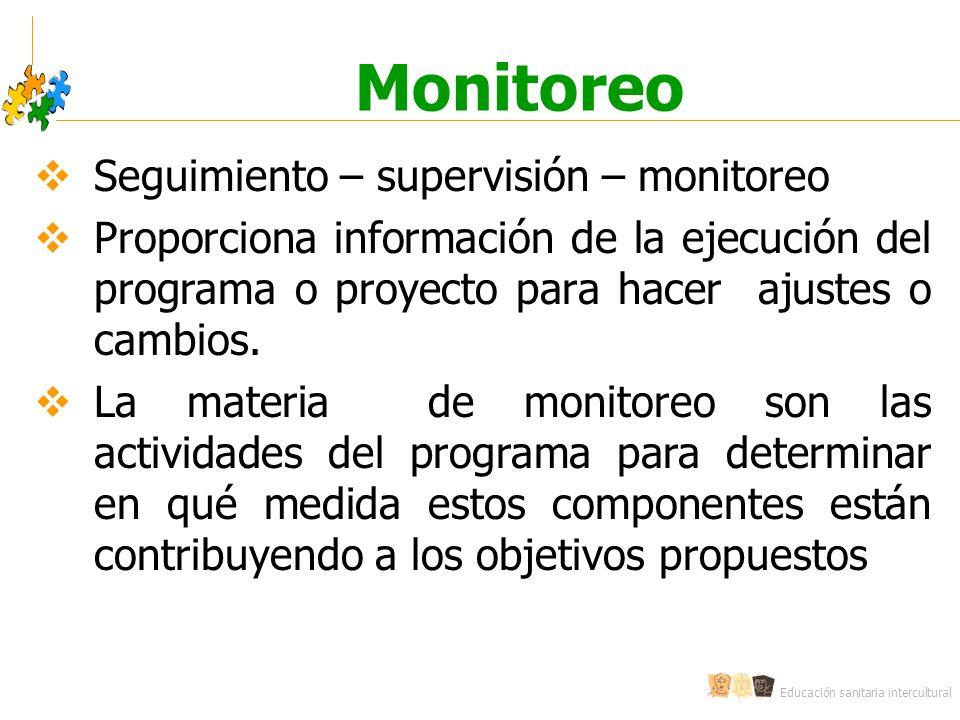Monitoreo Seguimiento – supervisión – monitoreo