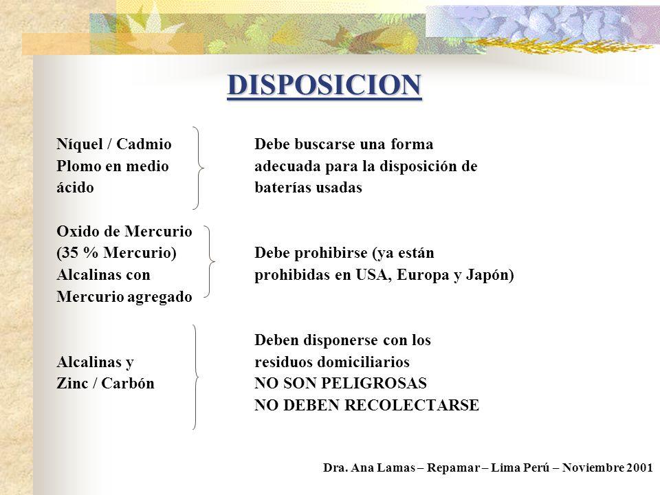 DISPOSICION Níquel / Cadmio Debe buscarse una forma