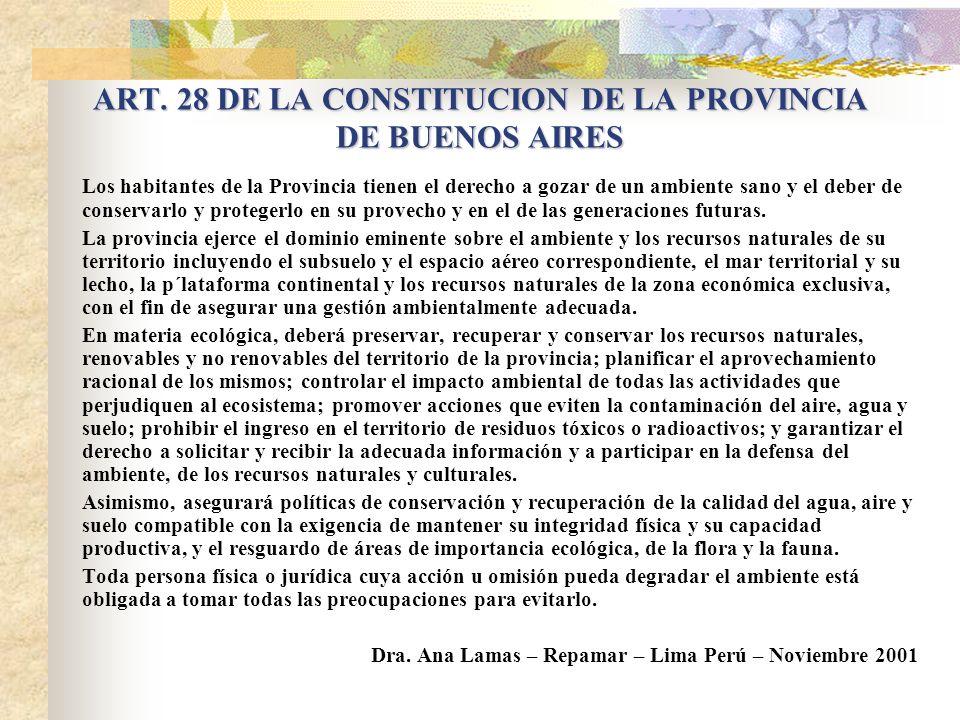 ART. 28 DE LA CONSTITUCION DE LA PROVINCIA DE BUENOS AIRES
