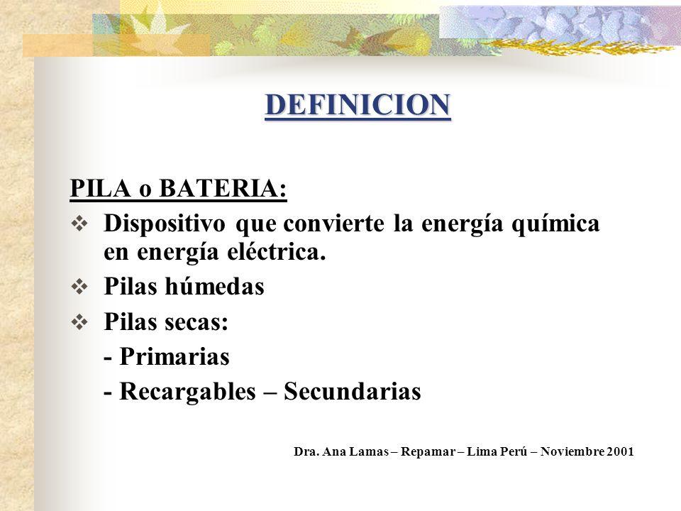 DEFINICION PILA o BATERIA: