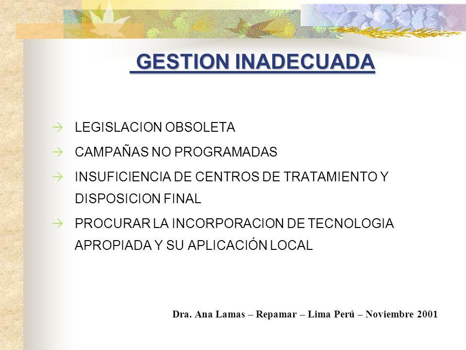 GESTION INADECUADA LEGISLACION OBSOLETA CAMPAÑAS NO PROGRAMADAS