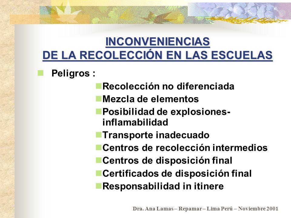INCONVENIENCIAS DE LA RECOLECCIÓN EN LAS ESCUELAS
