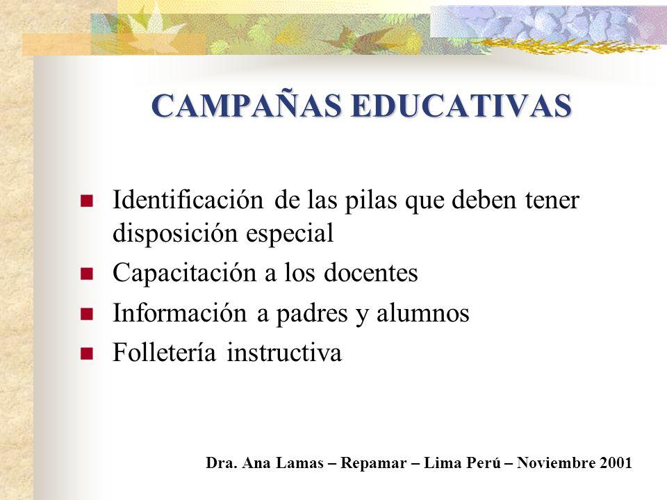 CAMPAÑAS EDUCATIVAS Identificación de las pilas que deben tener disposición especial. Capacitación a los docentes.