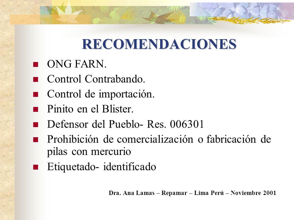 RECOMENDACIONES ONG FARN. Control Contrabando. Control de importación.