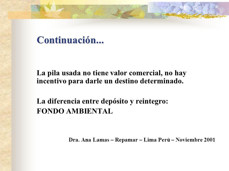 Continuación... La pila usada no tiene valor comercial, no hay incentivo para darle un destino determinado.