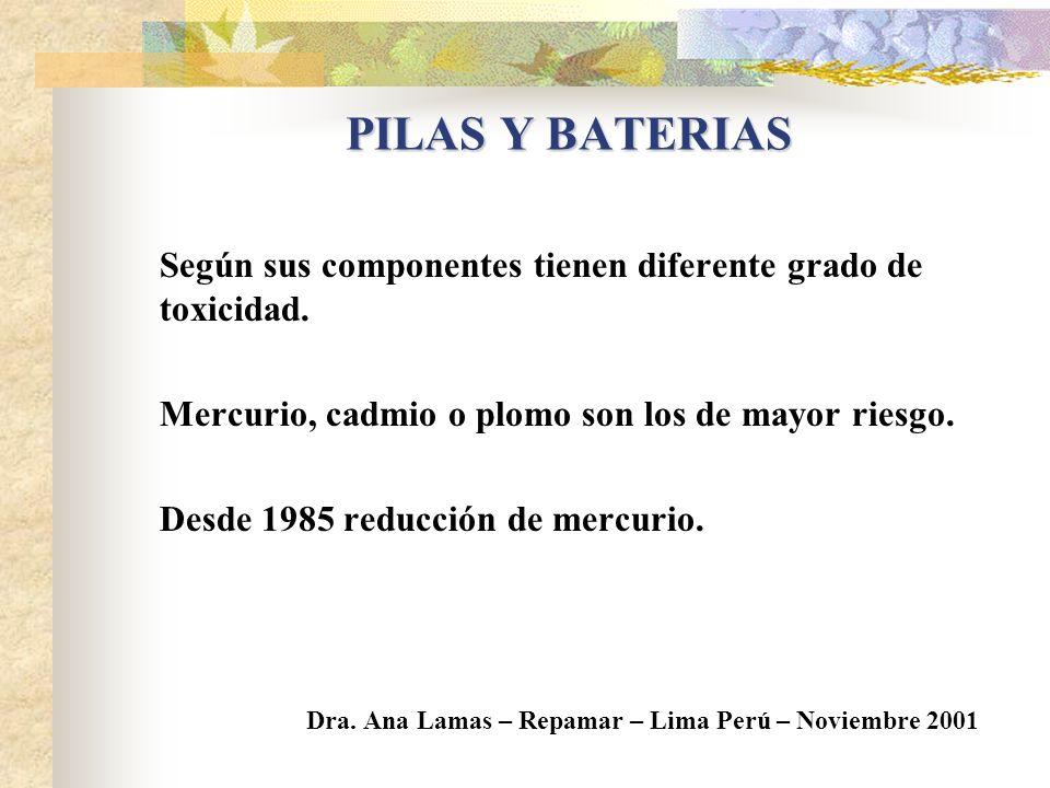 PILAS Y BATERIAS Según sus componentes tienen diferente grado de toxicidad. Mercurio, cadmio o plomo son los de mayor riesgo.