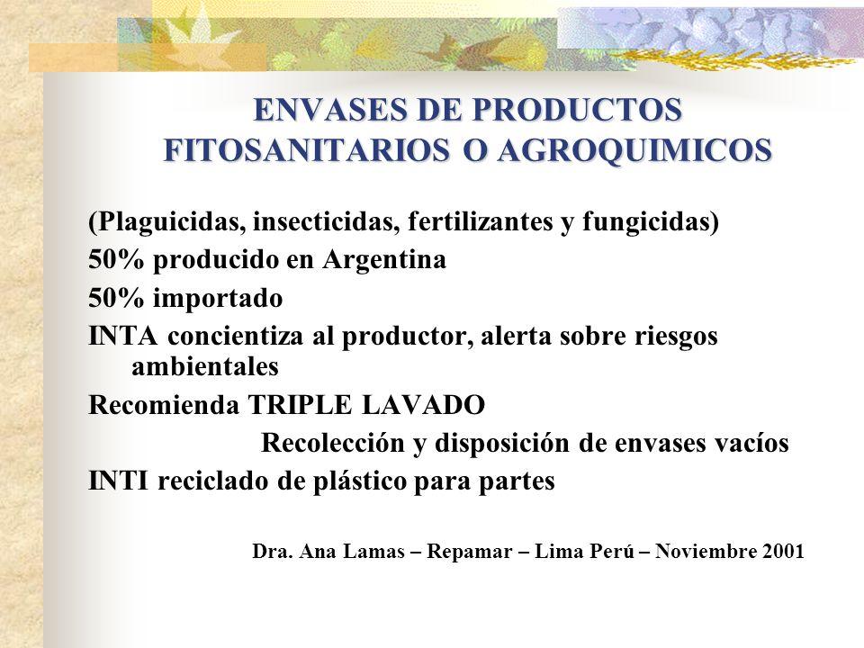 ENVASES DE PRODUCTOS FITOSANITARIOS O AGROQUIMICOS