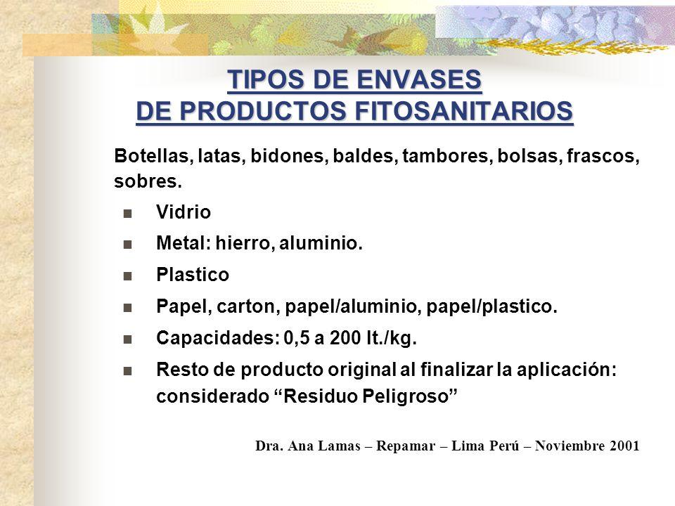TIPOS DE ENVASES DE PRODUCTOS FITOSANITARIOS