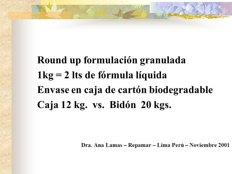 Round up formulación granulada 1kg = 2 lts de fórmula líquida