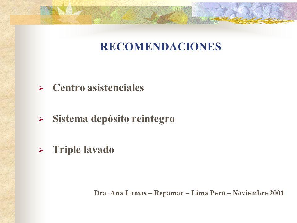 RECOMENDACIONES Centro asistenciales Sistema depósito reintegro