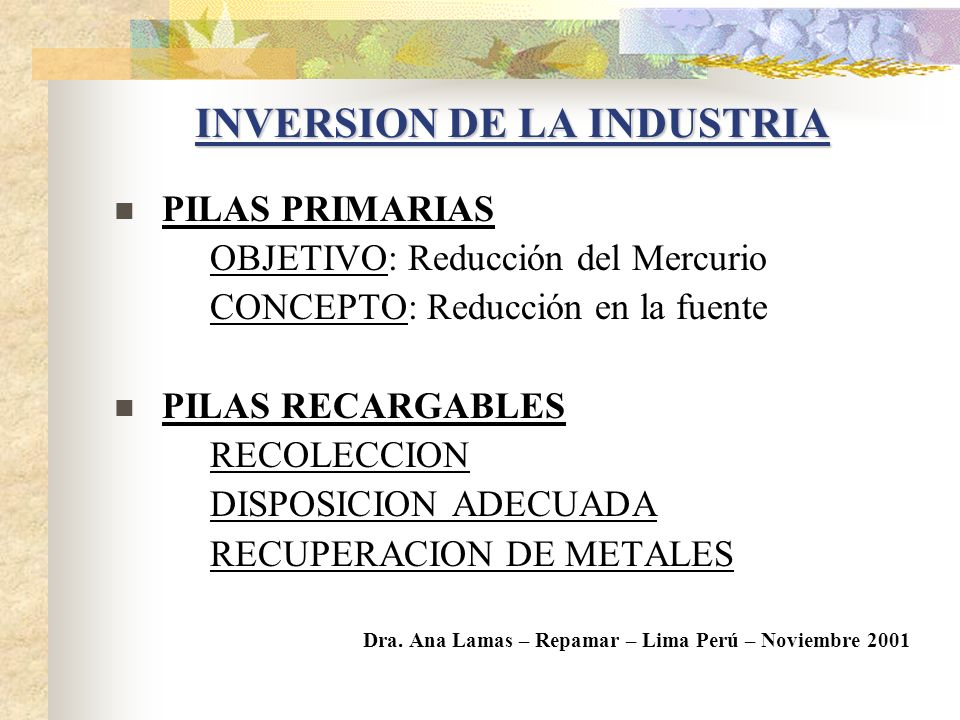 INVERSION DE LA INDUSTRIA