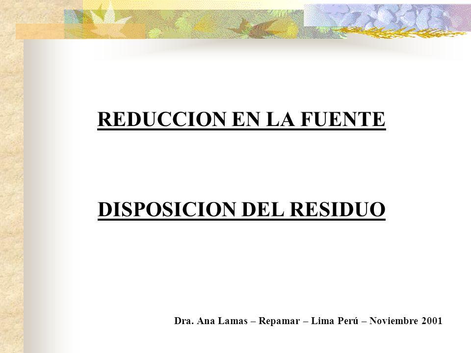 DISPOSICION DEL RESIDUO