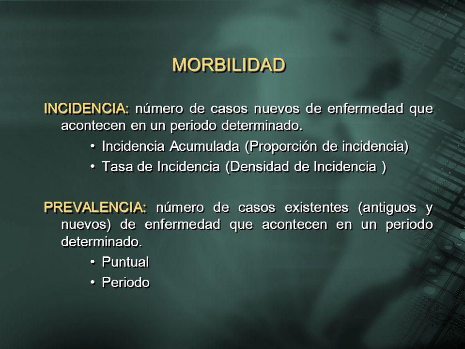 MORBILIDAD INCIDENCIA: número de casos nuevos de enfermedad que acontecen en un periodo determinado.