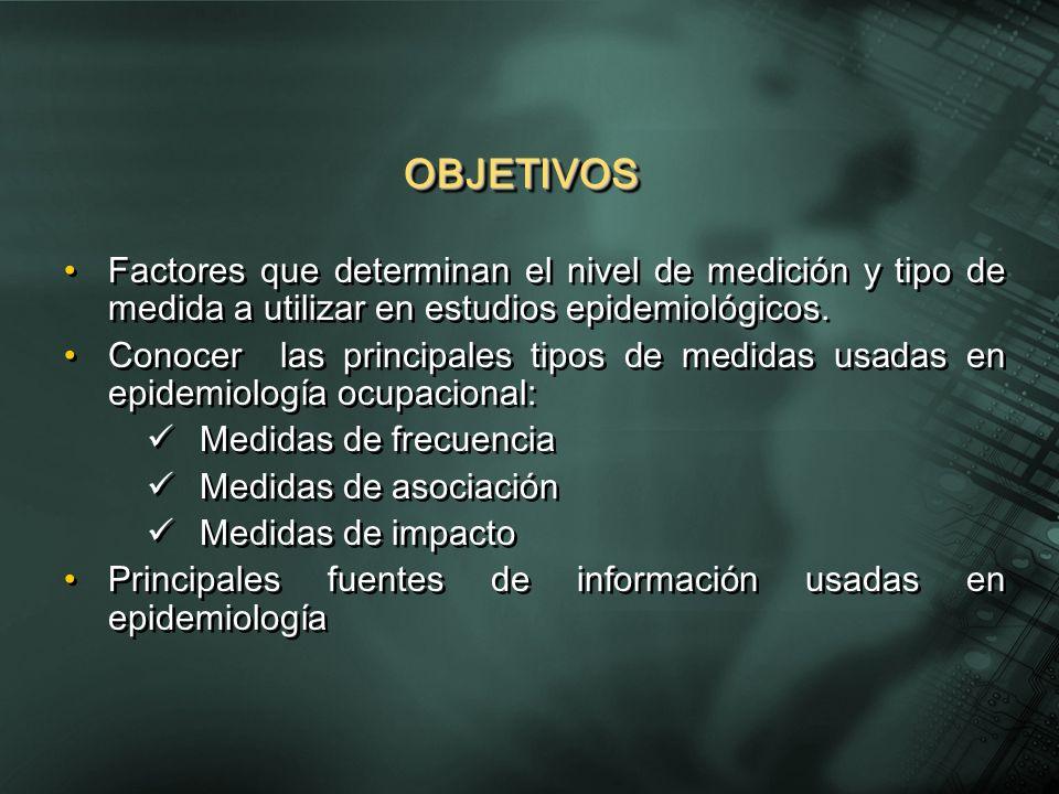 OBJETIVOS Factores que determinan el nivel de medición y tipo de medida a utilizar en estudios epidemiológicos.