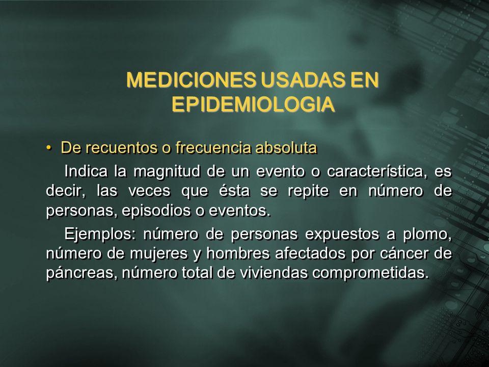 MEDICIONES USADAS EN EPIDEMIOLOGIA