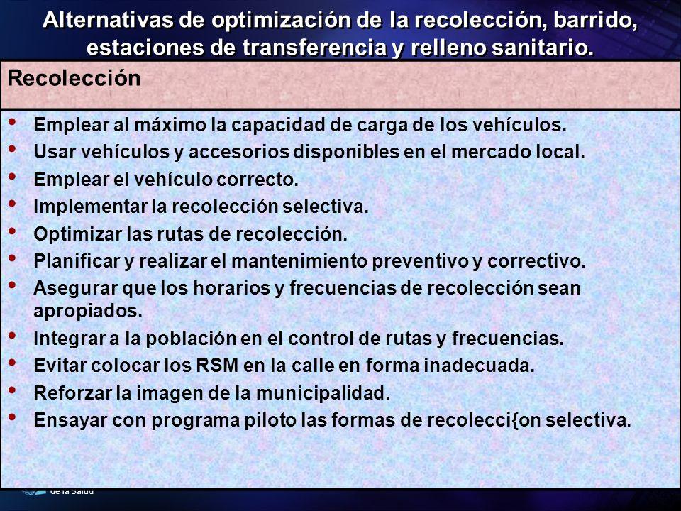 Alternativas de optimización de la recolección, barrido, estaciones de transferencia y relleno sanitario.