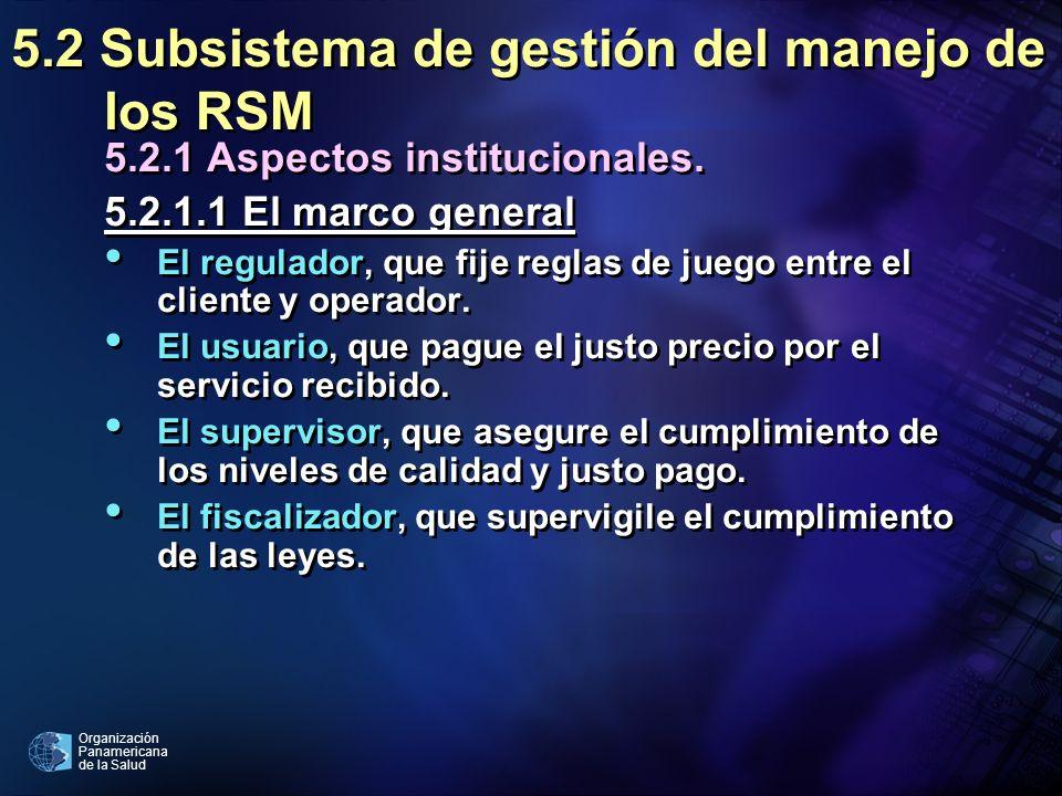 5.2 Subsistema de gestión del manejo de los RSM