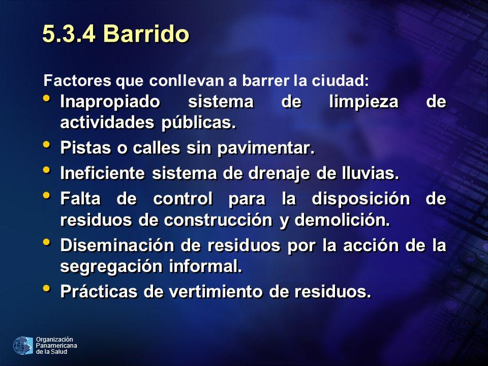 5.3.4 Barrido Inapropiado sistema de limpieza de actividades públicas.