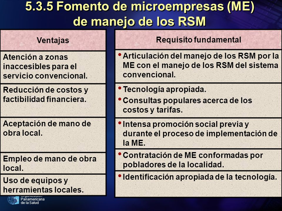 5.3.5 Fomento de microempresas (ME) de manejo de los RSM