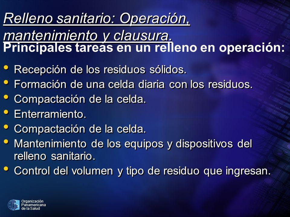 Relleno sanitario: Operación, mantenimiento y clausura.