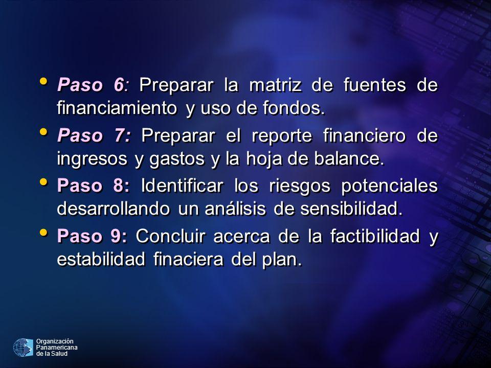 Paso 6: Preparar la matriz de fuentes de financiamiento y uso de fondos.