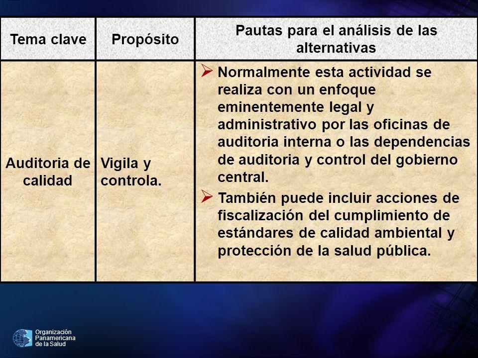 Pautas para el análisis de las alternativas