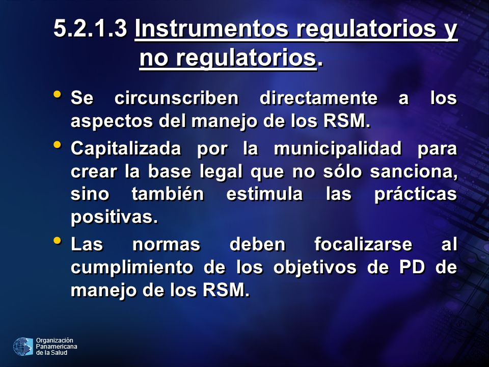 5.2.1.3 Instrumentos regulatorios y no regulatorios.