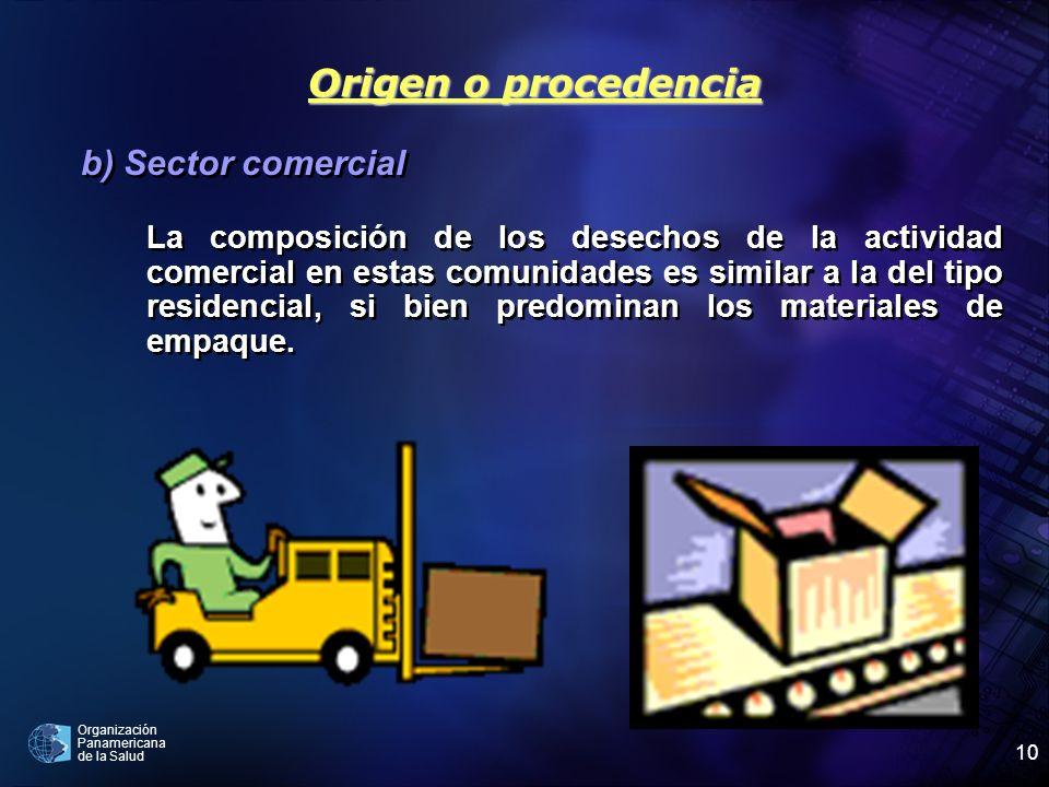 Origen o procedencia b) Sector comercial