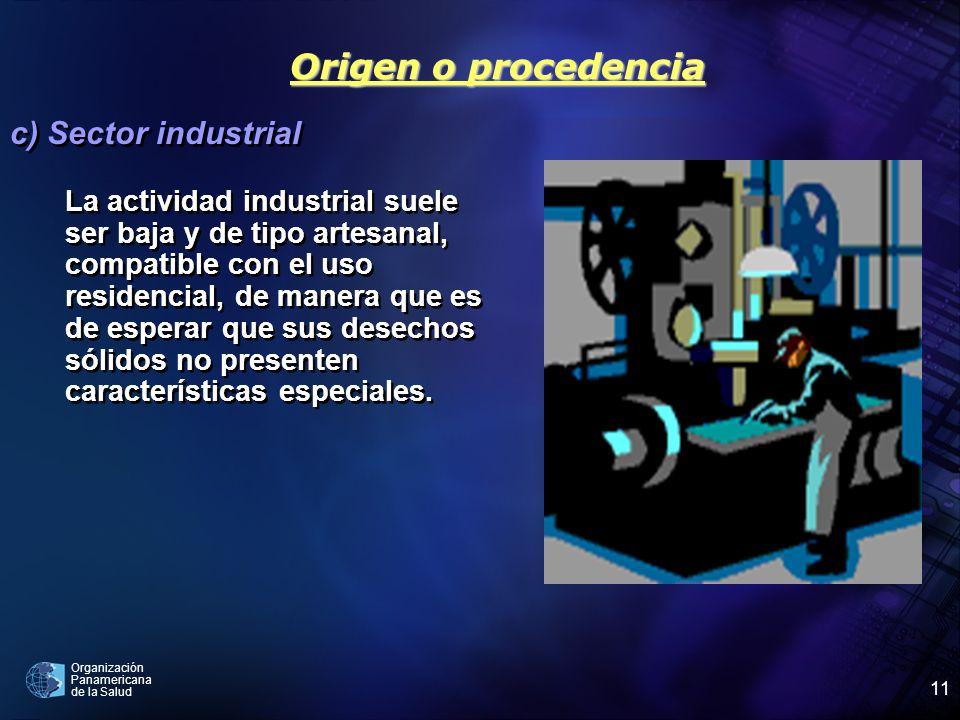 Origen o procedencia c) Sector industrial