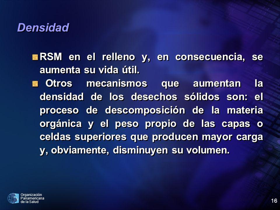 Densidad RSM en el relleno y, en consecuencia, se aumenta su vida útil.