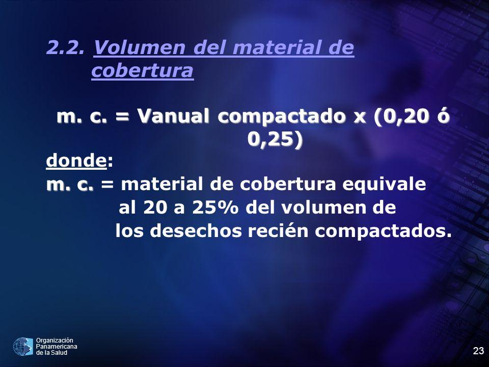 m. c. = Vanual compactado x (0,20 ó 0,25)