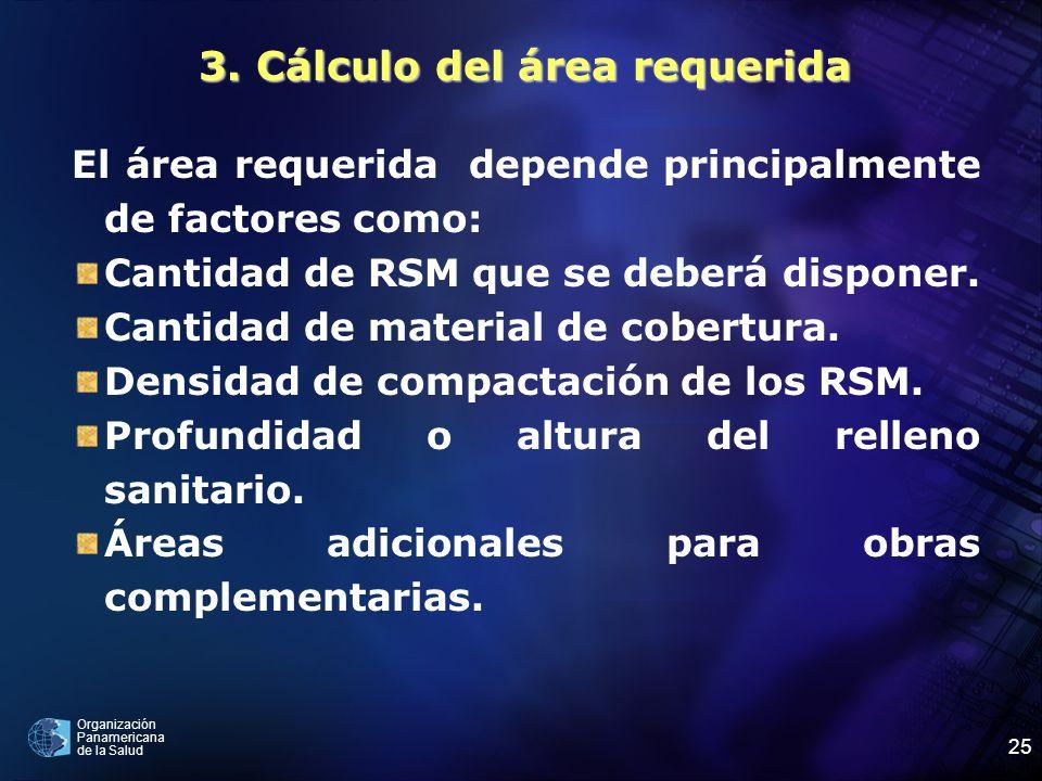 3. Cálculo del área requerida