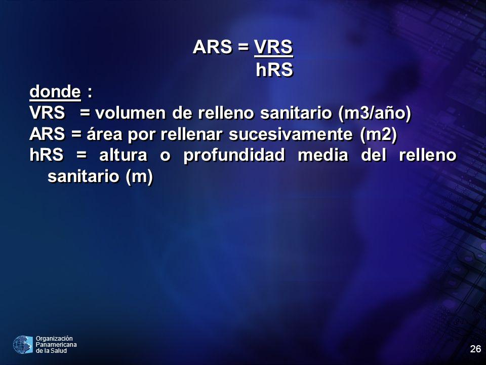 ARS = VRS hRS donde : VRS = volumen de relleno sanitario (m3/año)