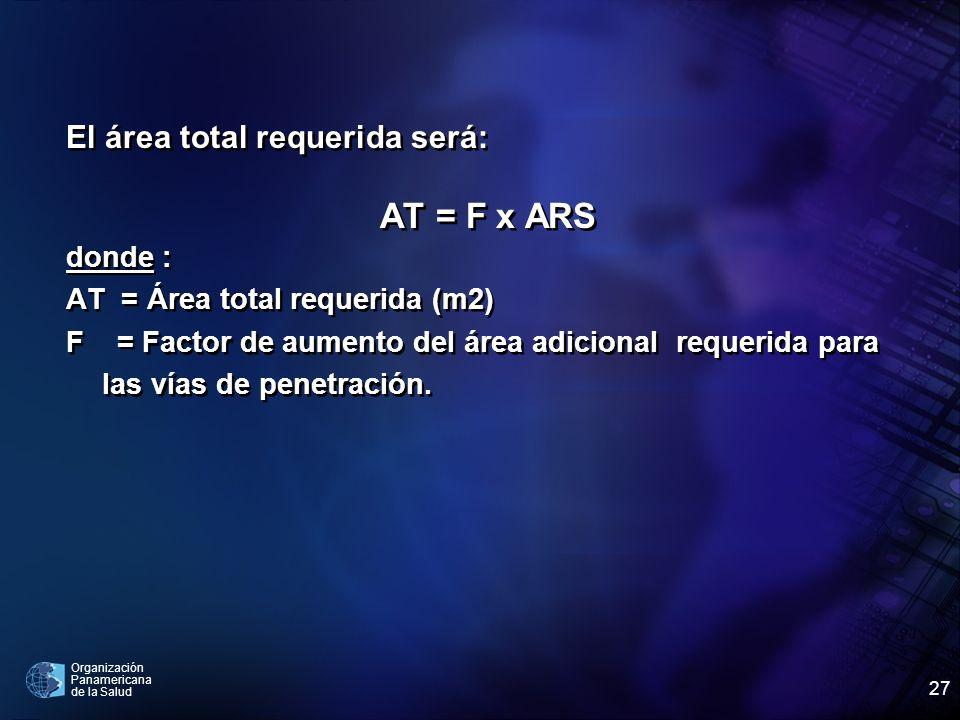 AT = F x ARS El área total requerida será: donde :