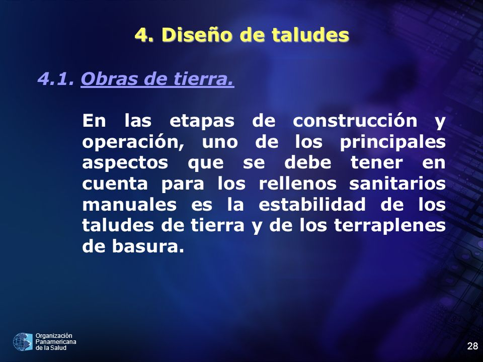 4. Diseño de taludes 4.1. Obras de tierra.
