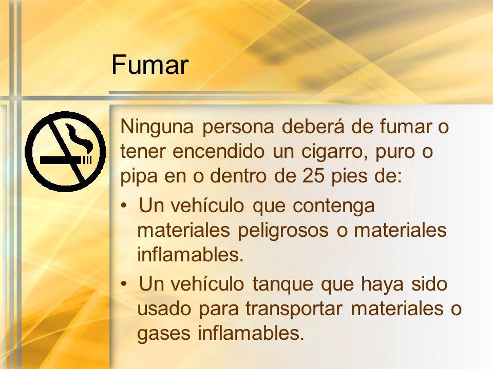 Fumar Ninguna persona deberá de fumar o tener encendido un cigarro, puro o pipa en o dentro de 25 pies de: