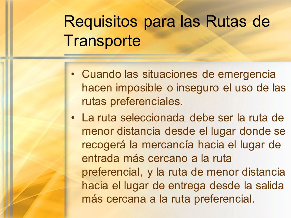 Requisitos para las Rutas de Transporte