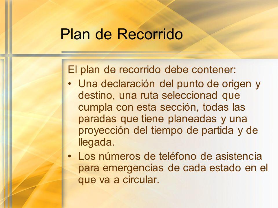 Plan de Recorrido El plan de recorrido debe contener: