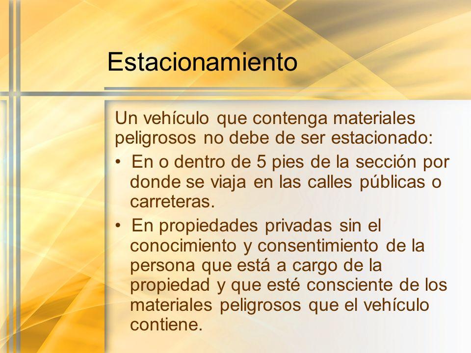 Estacionamiento Un vehículo que contenga materiales peligrosos no debe de ser estacionado: