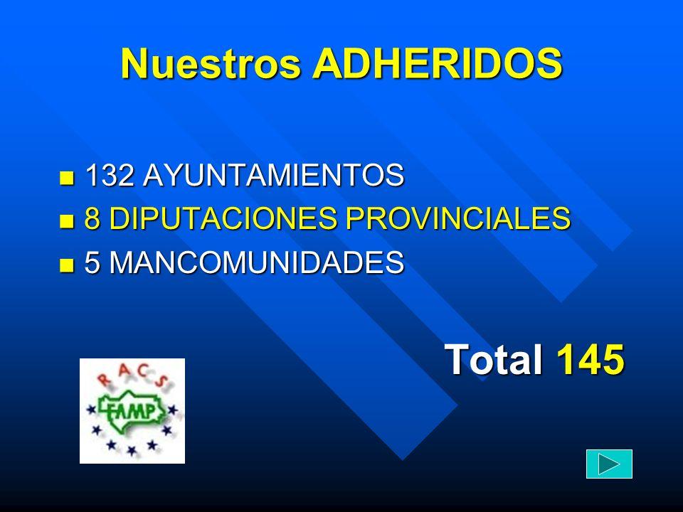 Nuestros ADHERIDOS Total 145 132 AYUNTAMIENTOS
